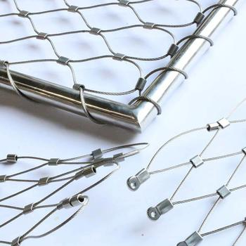 Stainless Steel Wire Rope Mesh For Balustrade 1.5mm Rope 40mm Mesh