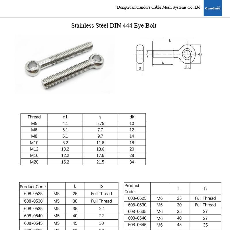 DIN444 Eye Bolt Stainiless Steel-Product Data
