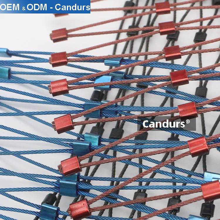 SS 316 Rope Mesh Red Green Blue Black Color Finish-Candurs-Ferrule Type Mesh