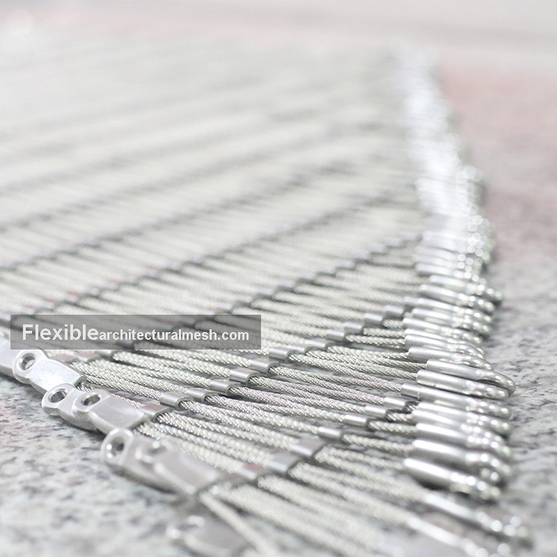 Flexible Stainless Steel Rope Mesh Triangular Piece With Eyelet Finish