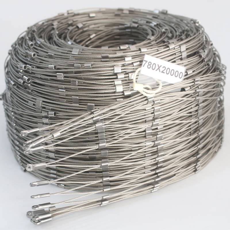 Long Roll Flexible Stainless Steel Cable Mesh Safety Net For Railing